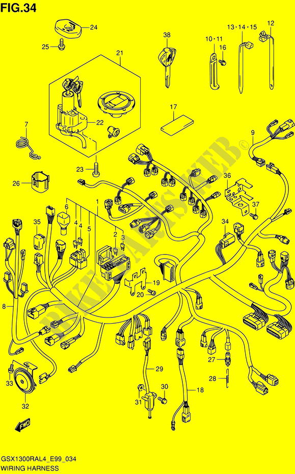 wiring harness for suzuki hayabusa 1300 2014  suzuki