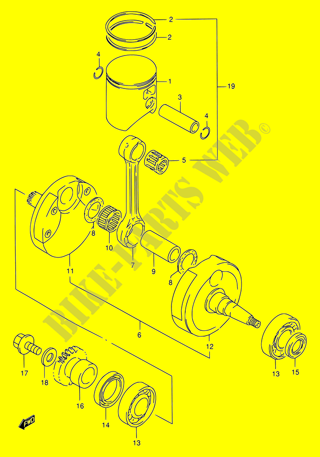 crankshaft engine transmission rm250 y e02 2000 rm 250 moto suzuki