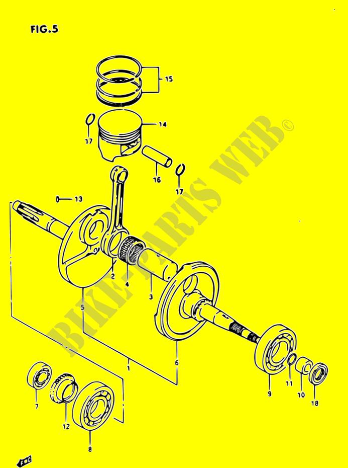 suzuki quad 230 ozark 1987 lt-f230 engine/transmission crankshaft