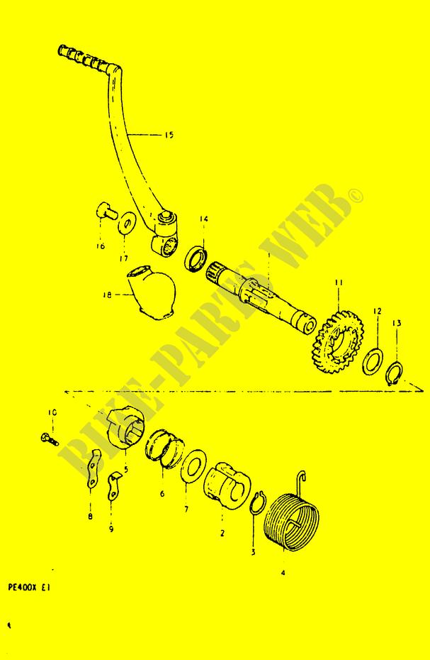 Kick Starter Engine Transmission Pe400t T X 1996 Pe 400 Moto Suzuki. Suzuki Moto 400 Pe 1996 Pe400ttx Engiransmission Kick Starter. Suzuki. Suzuki Pe400 Wiring Diagram At Scoala.co