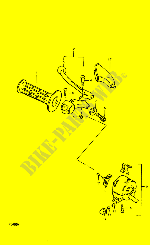 Left Switch Handgrip Pe400te2 Electrical Pe400x T X 1999 Pe 400. Suzuki Moto 400 Pe 1999 Pe400xtx Electrical Left Switch Handgrip. Suzuki. Suzuki Pe400 Wiring Diagram At Scoala.co