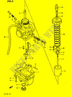 CARBURETOR  PE175E E 1984 Motorcycle Suzuki microfiche diagram