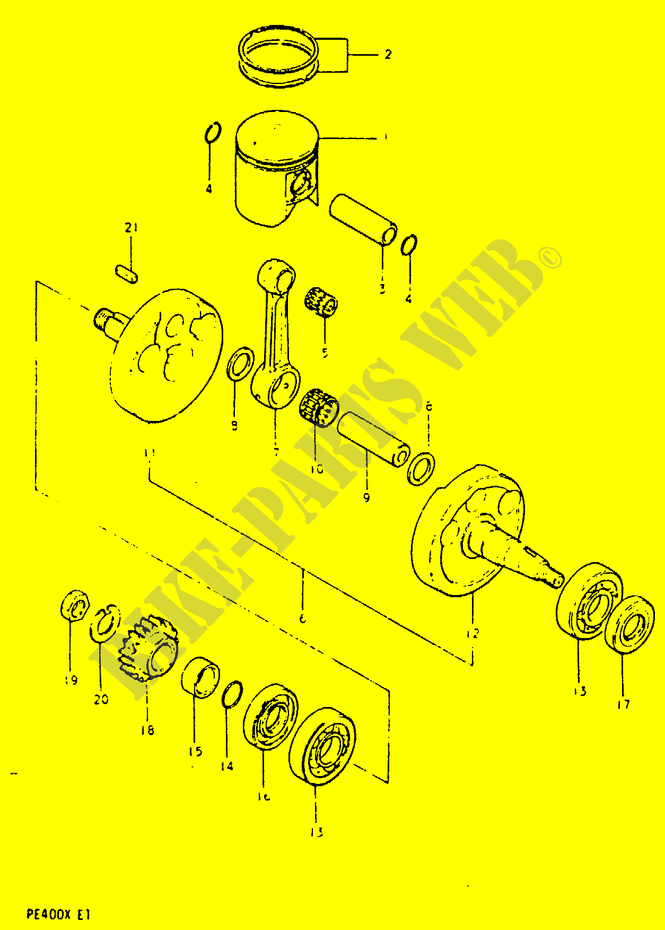 Crankshaft Engine Transmission Pe400t T X 1996 Pe 400 Moto Suzuki. Suzuki Moto 400 Pe 1996 Pe400ttx Engiransmission Crankshaft. Suzuki. Suzuki Pe400 Wiring Diagram At Scoala.co