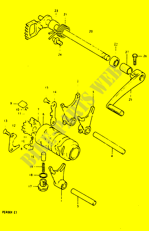 Gear Shifting Assy Engine Transmission Pe400t T X 1996 Pe 400 Moto. Suzuki Moto 400 Pe 1996 Pe400ttx Engiransmission Gear Shifting. Suzuki. Suzuki Pe400 Wiring Diagram At Scoala.co