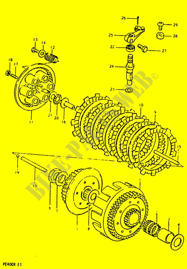 Clutch Engine Transmission Pe400t T X 1996 Pe 400 Moto Suzuki. Suzuki Moto 400 Pe 1996 Pe400ttx Engiransmission Clutch. Suzuki. Suzuki Pe400 Wiring Diagram At Scoala.co