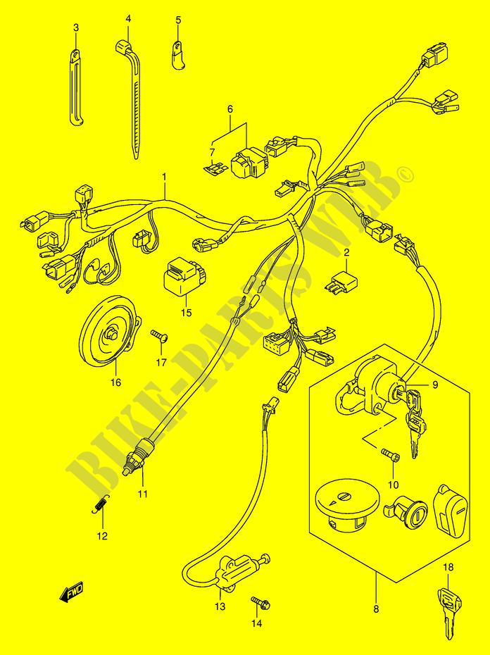 suzuki moto 650 boulevard 1996 ls650pt(e3/e28) electrical wiring harness ( model
