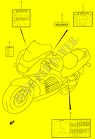LABEL (MODEL T/ V/ W)  RF900RR(E2) R 1994 Motorcycle Suzuki microfiche diagram
