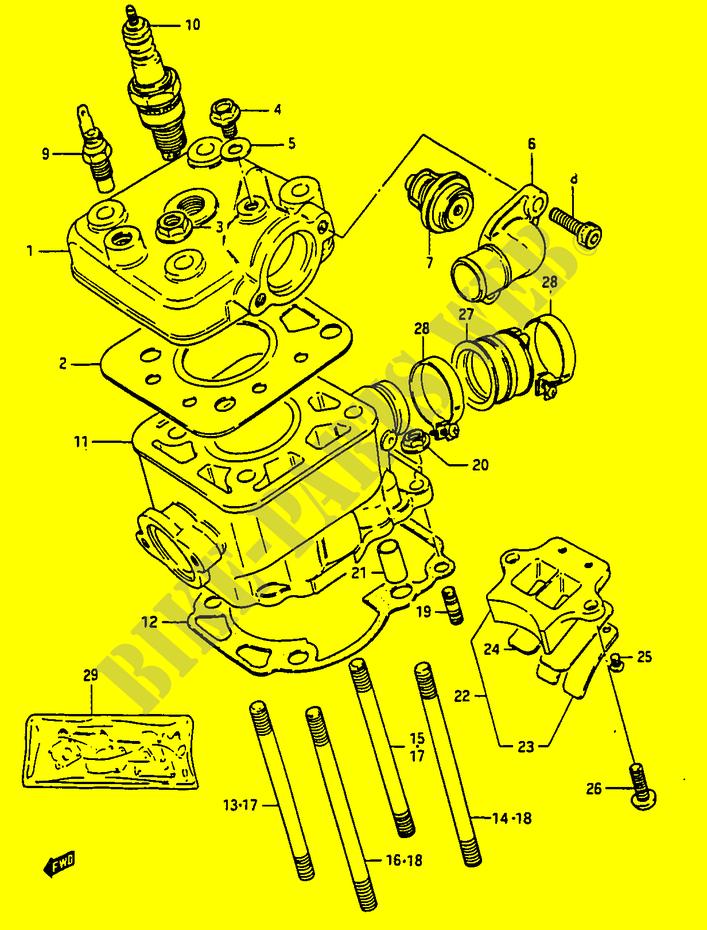 Cylinder For Suzuki Rg 50 1985 Suzuki Motorcycles Genuine Spare Parts Catalog