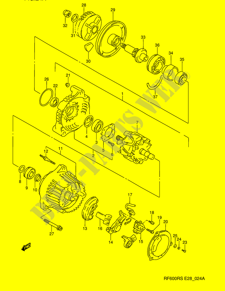 alternator model s engine transmission rf600rp e28 1993 rf 600 moto E46 Engine Diagram suzuki moto 600 rf 1993 rf600rp(e28) engine transmission alternator (model s
