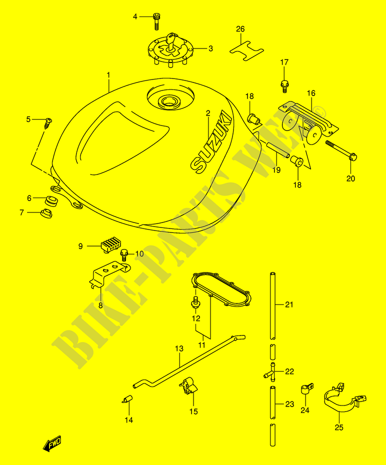FUEL TANK (MODEL K1) for Suzuki TL-R 1000 1999