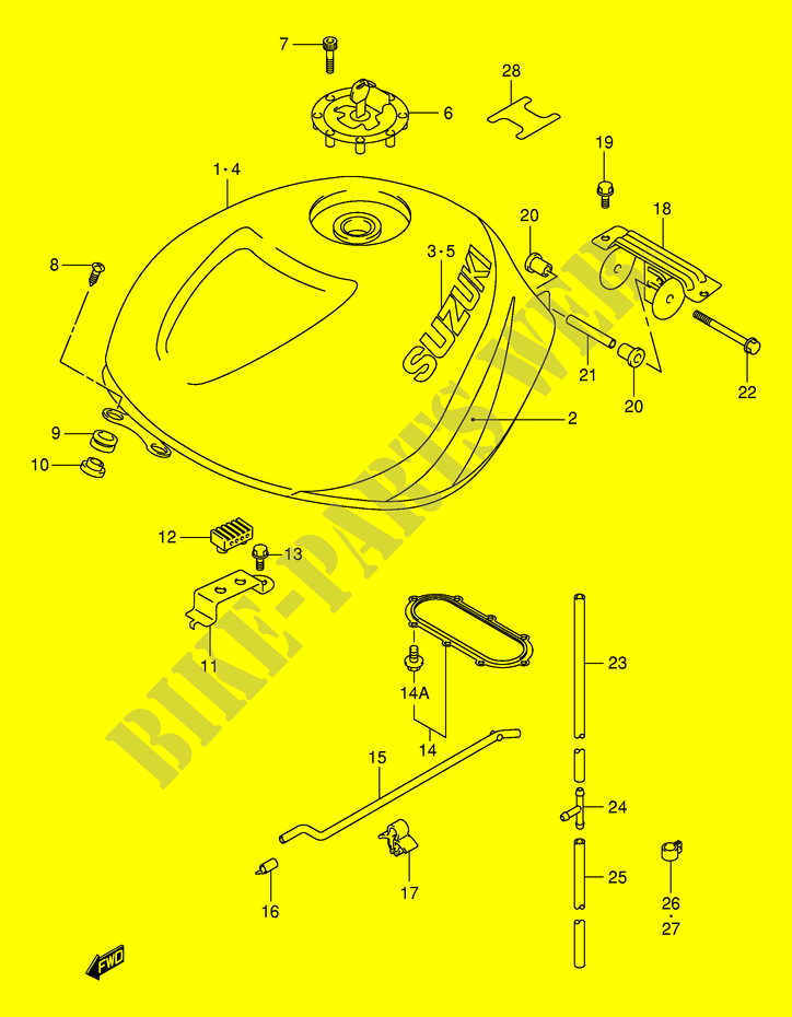 FUEL TANK (MODEL Y) for Suzuki TL-R 1000 1999