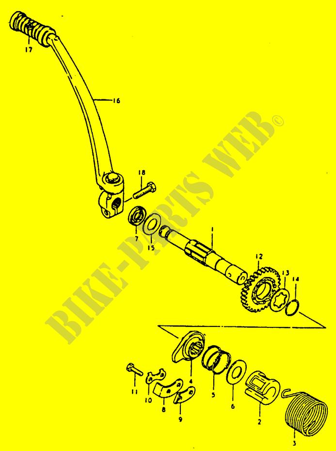 Suzuki Moto 125 Ts 1992 Ts125n Engiransmission Kick Starter: Suzuki Ts 125 Engine Diagram At Kopipes.co