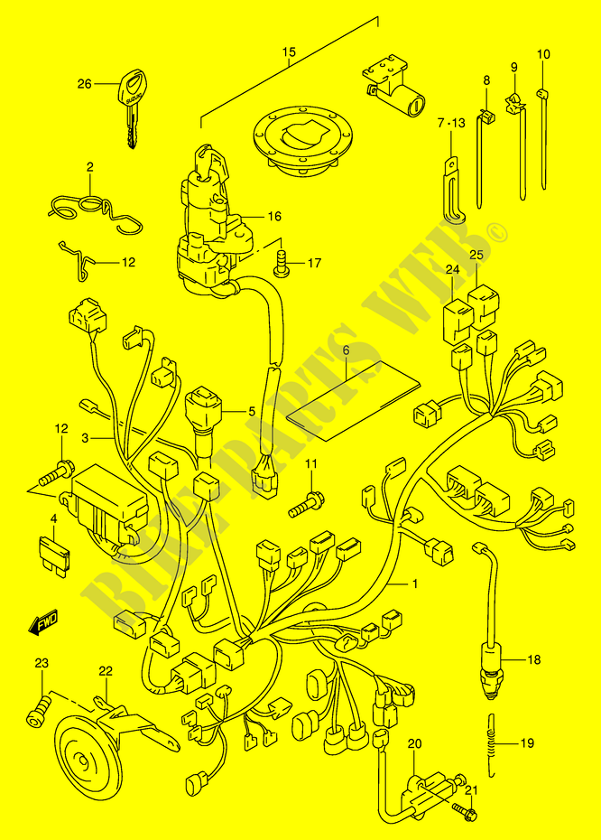 WIRING HARNESS MODEL W X Y K1 Suzuki Motorcycle 1000 TL S 1998 TL1000SW E2 DP026731 e2 wiring harness on e2 download wirning diagrams  at mifinder.co