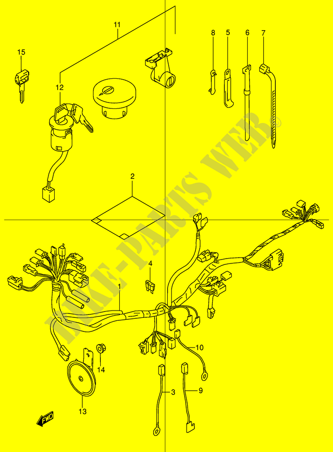 wiring harness tr50sw e2 w 1998 tr50sw e2 tr 50 s suzuki wiring harness tr50sw e2 w 1998 motorcycle suzuki microfiche
