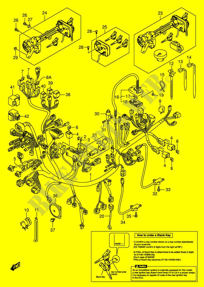 WIRING HARNESS AN650AK5 IMOBI Suzuki SCOOTER 650 BURGMAN 2003 AN650LK3 E2 DP003705 wiring harness an650ak5 imobi electrical an650lk3 e2 2003 burgman