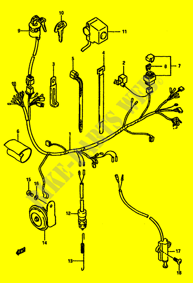 wiring harness electrical dr600suk e2 1989 dr 600 moto suzukisuzuki moto 600 dr 1989 dr600suk(e2) electrical wiring harness