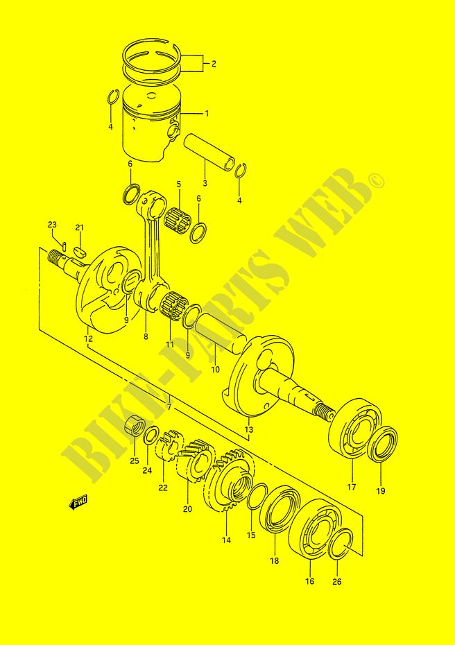 suzuki moto 200 ts-r 1991 ts200rm(e28) engine/transmission crank shaft