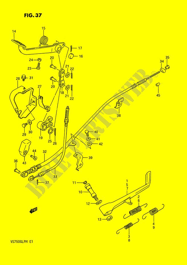 side stand - rear brake pedal (model g / h / j / k / l / m) for suzuki 750  intruder 1987