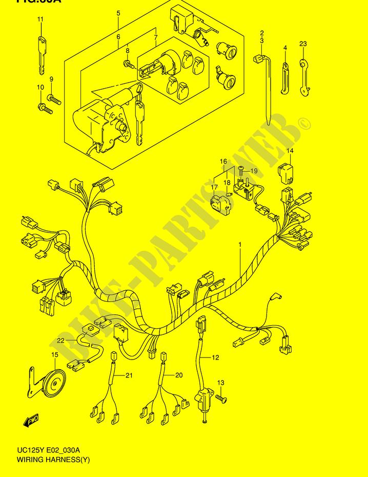 wiring harness model y k1 electrical uc125y e2 2000 epicuro 125 rh bike parts suz com