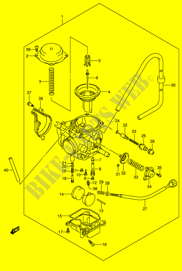 carburetor engine transmission lt a400fk5 p24 2005 eiger 400 atv rh bike parts suz com Suzuki Dr 250 Wiring Diagram Suzuki 400 Motorcycle Ignition Schematic