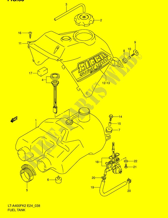 FUEL TANK for Suzuki EIGER 400 2002 # SUZUKI MOTORCYCLES - Genuine Spare  Parts CatalogSUZUKI MOTORCYCLES - Genuine Spare Parts Catalog