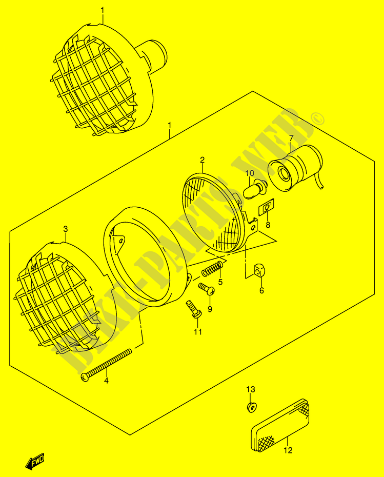 suzuki quad 500 quadmaster 1998 lt-f500fw(e3/e28) electrical headlight (