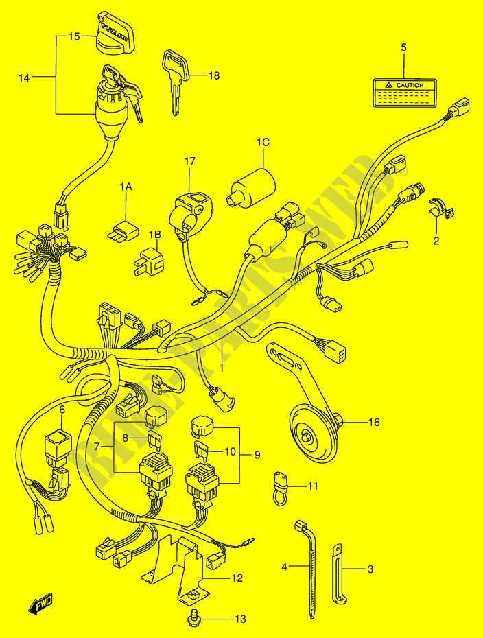 Wiring Harness For Suzuki Kingquad 300 2000 Suzuki Motorcycles Genuine Spare Parts Catalog