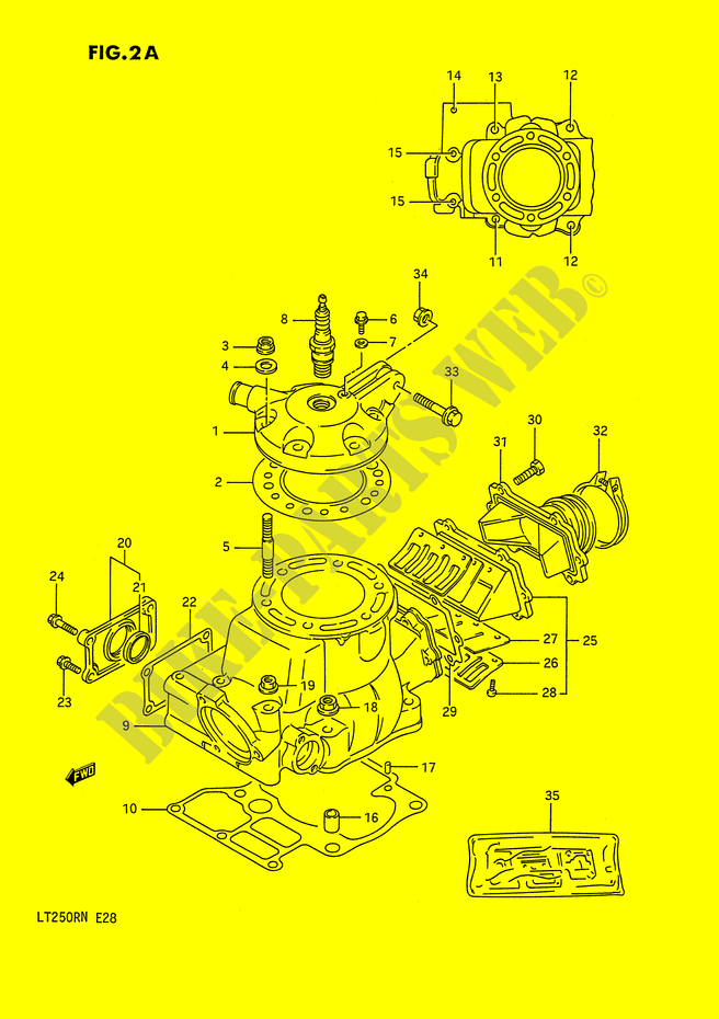 CYLINDER (MODEL J/K/L/M/N) for Suzuki QUADRACER 250 1990