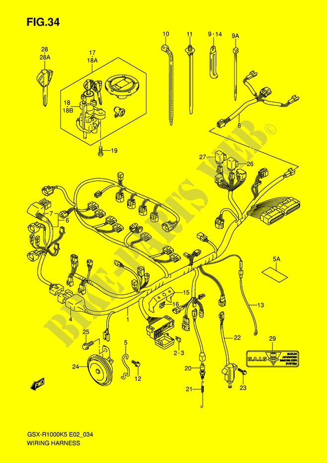 wiring harness gsx r1000k6 e2 k6 2006 gsx r1000k6 e2 wiring harness gsx r1000k6 e2 k6 2006 motorcycle suzuki microfiche