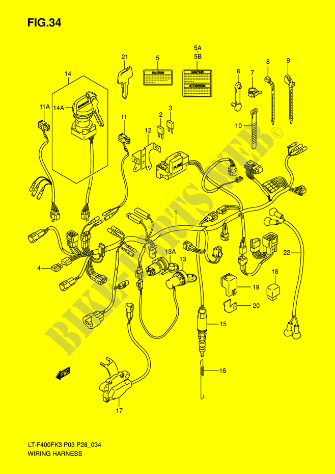 WIRING HARNESS Suzuki ATV 400 EIGER 2007 LT F400FK7 P3 P28 DP038035 wiring harness electrical lt f400fk7 p3 p28 2007 eiger 400 atv wiring harness 2864492 at gsmportal.co
