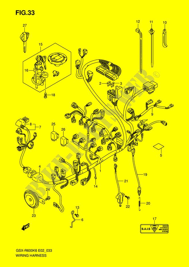 wiring harness gsx r600k6 e2 k6 2006 gsx r600k6 e2 gsxr wiring harness gsx r600k6 e2 k6 2006 motorcycle suzuki microfiche