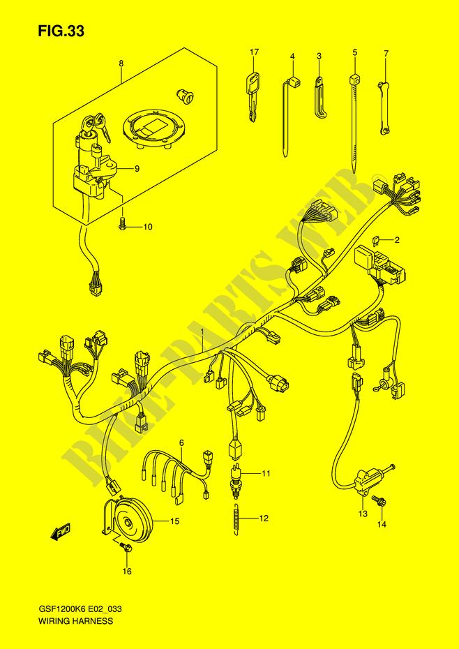 wiring harness gsfk ak gsfk e k gsfk wiring harness gsf1200k6 ak6 gsf1200k6 e2 k6 2006 motorcycle suzuki microfiche