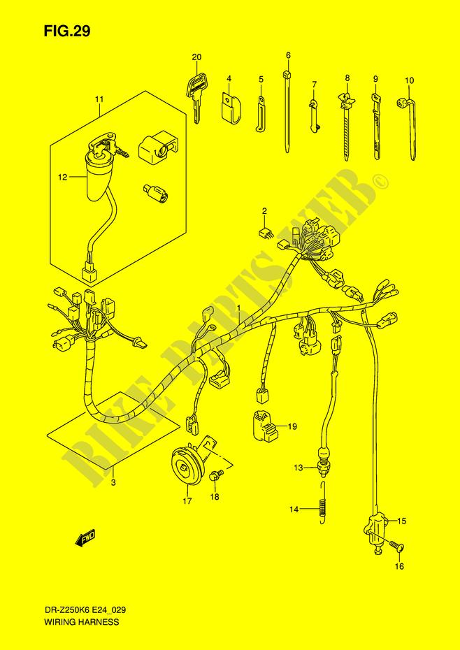 suzuki moto 250 dr-z 2007 dr-z250k7(e24) electrical wiring harness