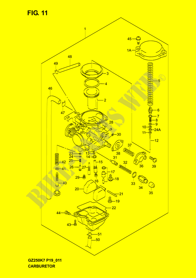 CARBURETOR Suzuki Motorcycle 250 MARAUDER 2007 GZ250K7 P19 DP043657 suzuki marauder engine diagram suzuki wiring diagram instructions  at edmiracle.co