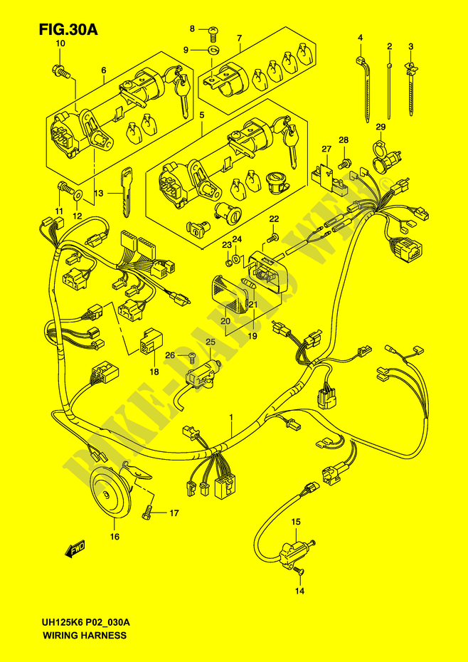 WIRING HARNESS MODEL K4 K5 K6 ELECTRICAL UH125K6 P2 2006 BURGMAN 125