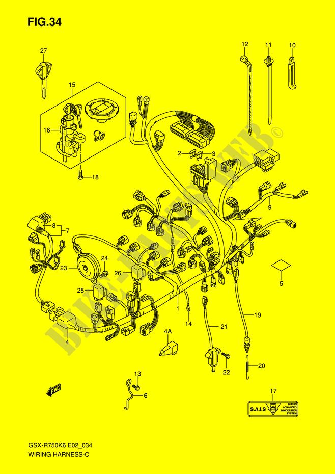 wiring harness note gsx rk e k gsx rk e wiring harness note gsx r750k6 e2 k6 2006 motorcycle suzuki microfiche