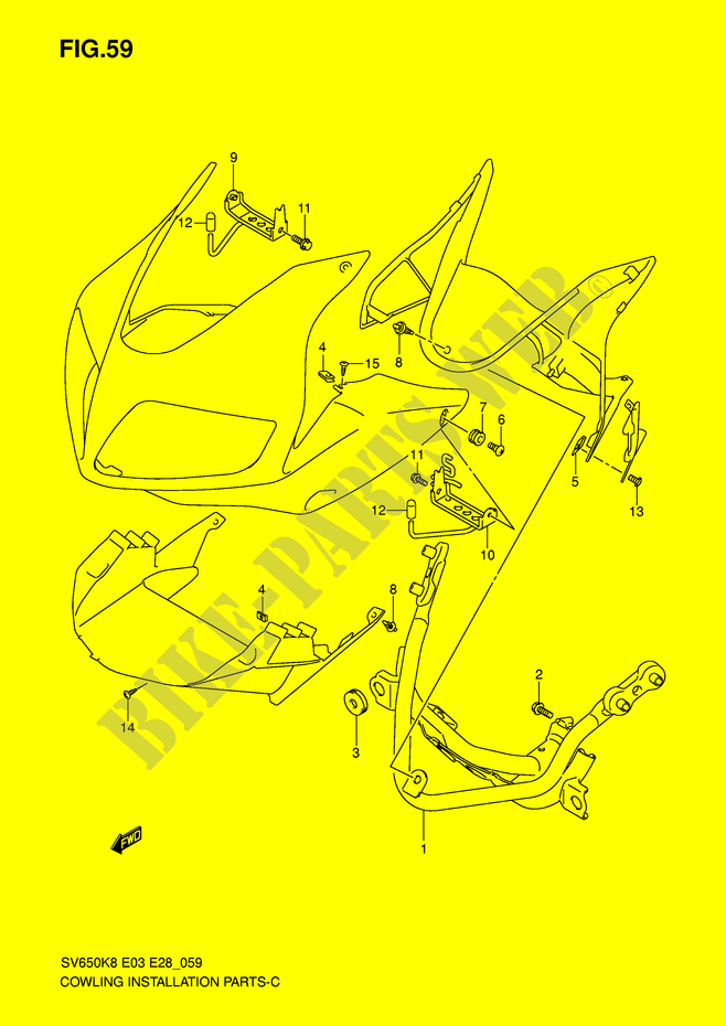 Fairing Installation Parts Sv650s Sa For Suzuki Sv 650 2009 Suzuki Motorcycles Genuine Spare Parts Catalog