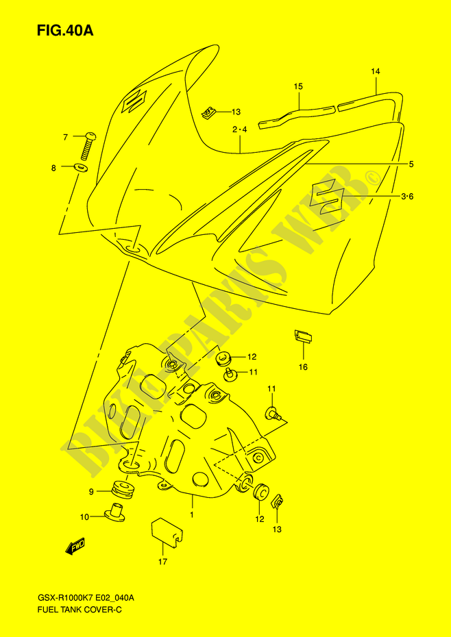 FUEL TANK FRONT COVER (MODEL K8) for Suzuki GSX-R 1000 2008 ... K Gsxr Wiring Diagram on gsxr 1000 clutch, gsxr 1000 transformer, gsxr 1100 wiring diagram, gsxr 600 wiring diagram, gsxr 1000 wheels, tl 1000 r wiring diagram, gsxr 1000 frame, gsxr 1000 headlight, gsxr 1000 engine diagram, gsxr 1000 piston, gsxr 1000 automatic transmission, gsxr 1000 parts, gsxr 1000 owner manual, gsxr 1000 battery, gsxr 1000 ecu, gsxr 1000 exhaust, ninja 1000 wiring diagram, fzr 1000 wiring diagram, gsxr 1000 oil pump, gsxr 1000 motor,