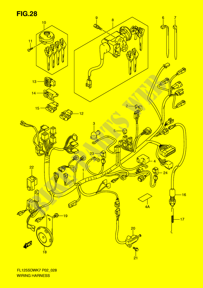 WIRING HARNESS ELECTRICAL FL125SDWK8 P2 2008 FL 125 SCOOTER Suzuki