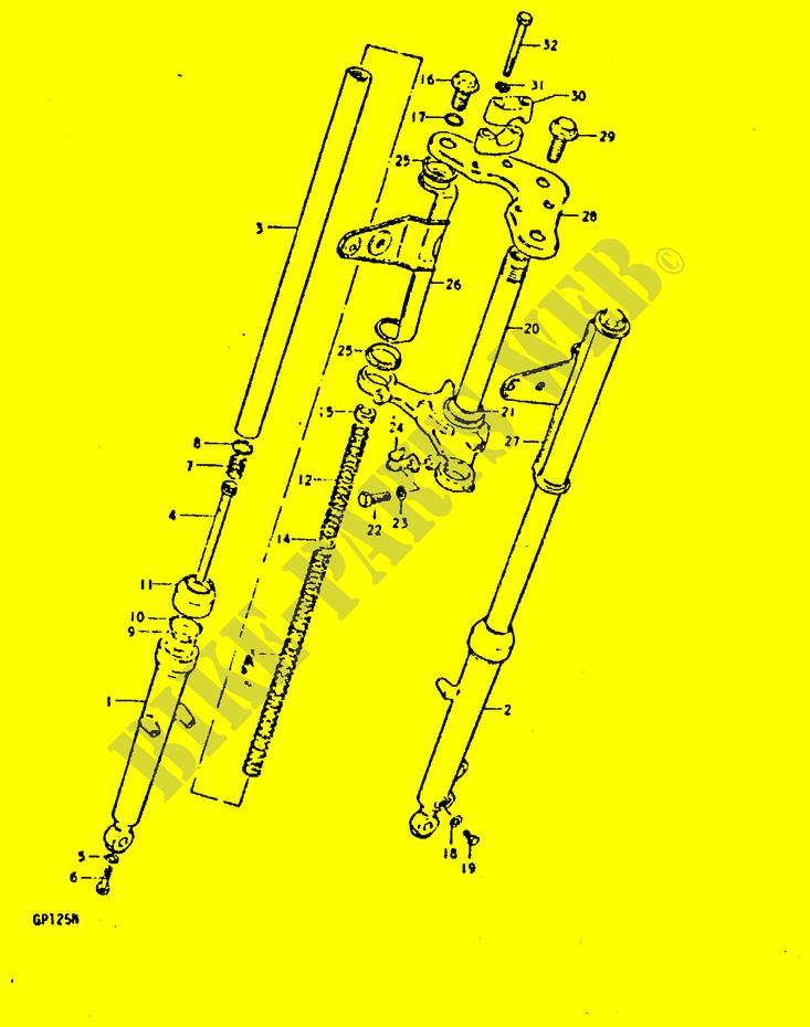 FRONT FORK(SHOWA)(GP125C~F NO 101264,GP125UC~F NO 101622