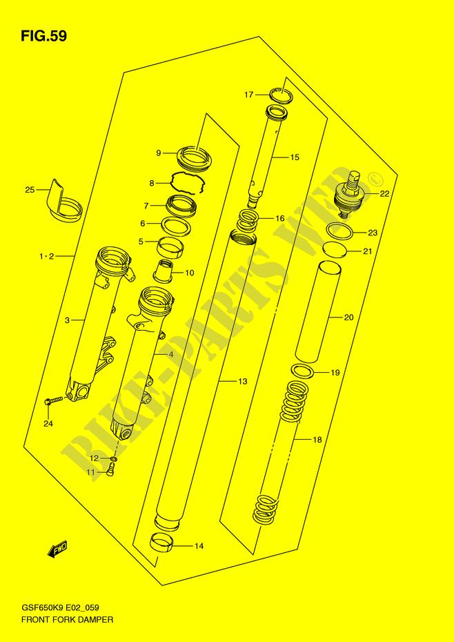 suzuki moto 650 bandit 2009 gsf650k9(e2) suspension/brakes/wheels front fork
