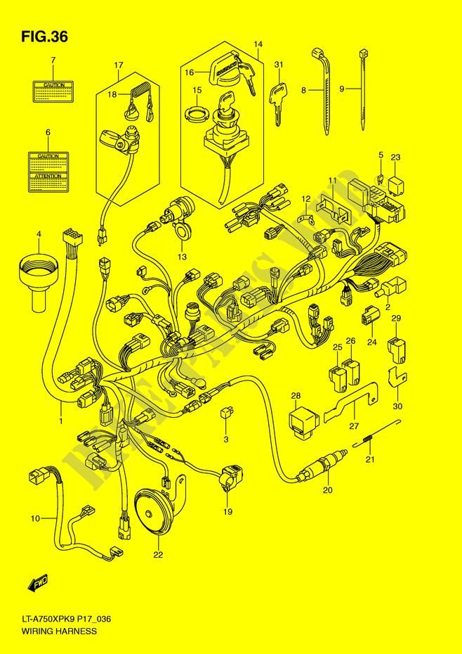 suzuki quad 750 kingquad 2009 lt-a750xpzk9(p17) electrical wiring harness
