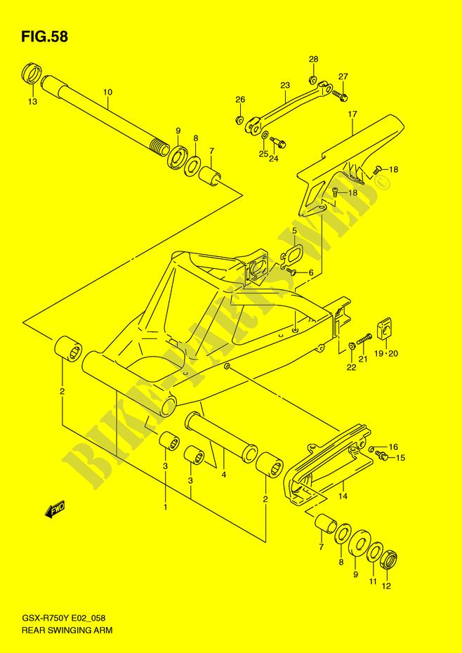 SWINGARM (MODEL Y/K1) for Suzuki GSX-R 750 2002 # SUZUKI
