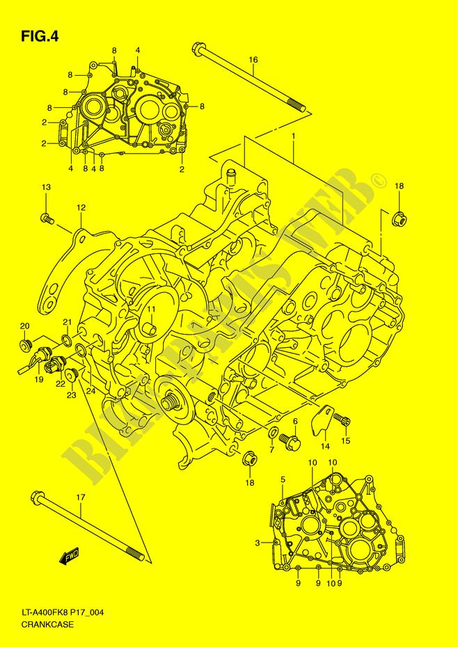 suzuki quad 400 eiger- 2008 lt-a400fk8(p17) engine/transmission crankcase