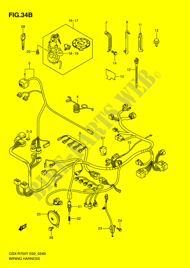 wiring harness model k3 gsx r750k2 e2 k2 2002 gsx r750k2 e2 wiring harness model k3 gsx r750k2 e2 k2 2002 motorcycle suzuki