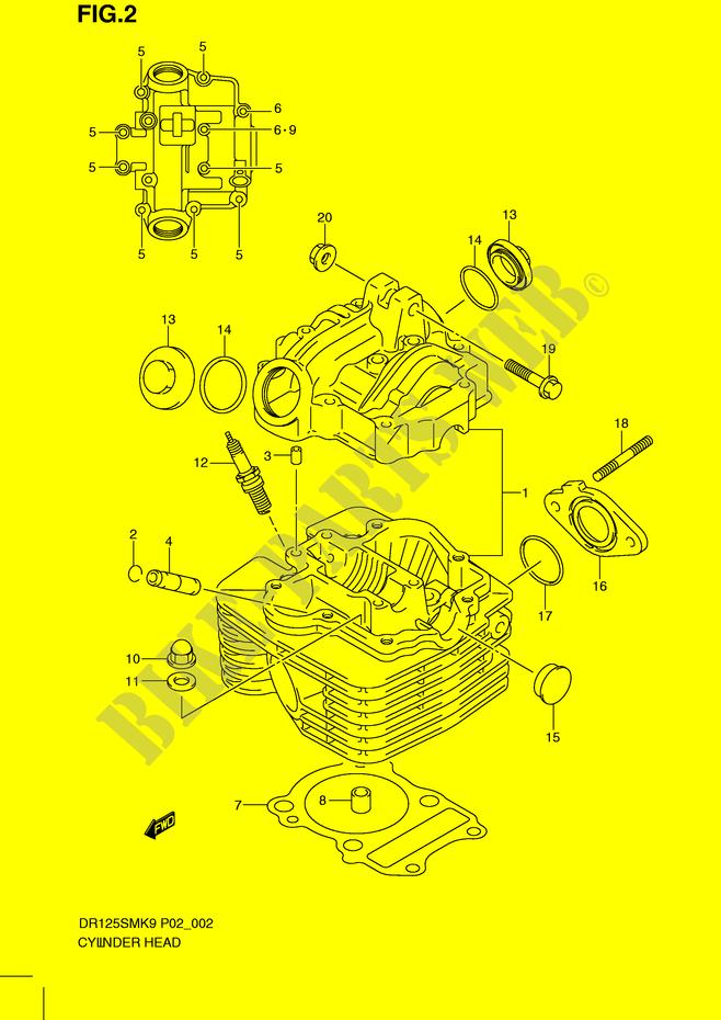 CYLINDER HEAD ENGINE TRANSMISSION DR125SML0 2010 DR 125 MOTO Suzuki