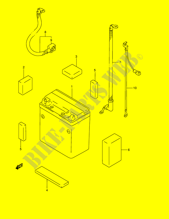 suzuki quad 500 quadmaster 1998 lt-f500fw(e24) electrical battery