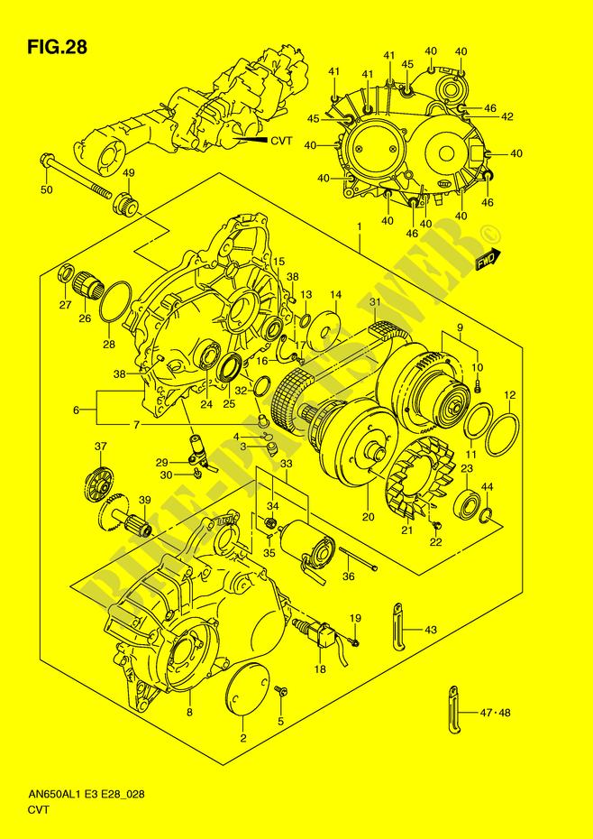 transmission casing assy engine transmission an650l1 e3 e28 2011 E46 Engine Diagram suzuki scooter 650 burgman 2011 an650l1(e3 e28) engine transmission transmission casing