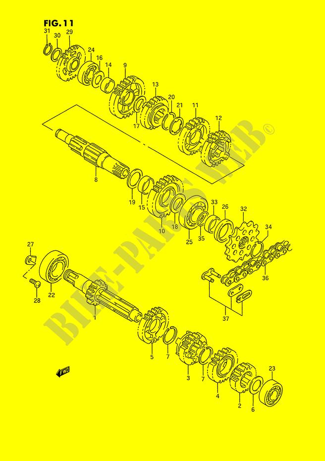 suzuki moto 250 rm-250 1995 rm250s(e3) engine/transmission transmission