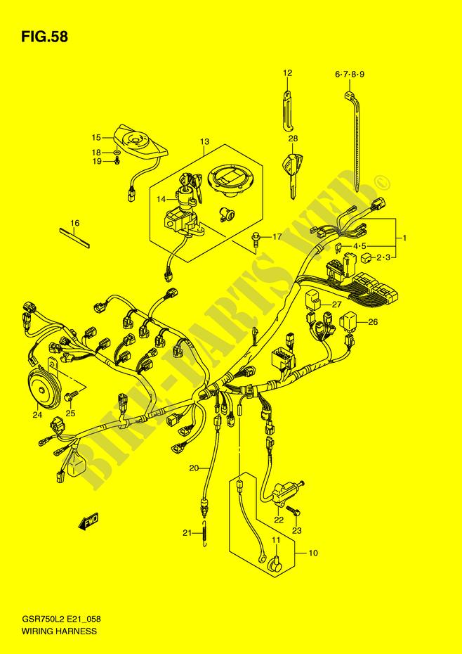WIRING HARNESS (GSR750L2 E21) for Suzuki 750 GSR 2012 # SUZUKI ... on wire clothing, wire leads, wire sleeve, wire lamp, wire cap, wire antenna, wire connector, wire ball, wire nut, wire holder,
